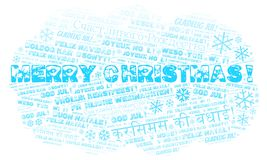 Merry Christmas word cloud - Merry Christmas on English language and other different languages vector illustration