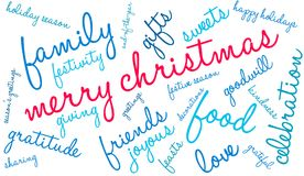 Merry Christmas Word Cloud. On a white background Stock Images