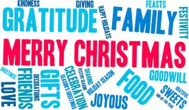 Merry Christmas Word Cloud. On a white background Royalty Free Stock Photos