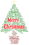 Merry Christmas word cloud in a shape of a christmas tree Stock Photography