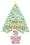 Merry Christmas word cloud shape. Concept Stock Photo