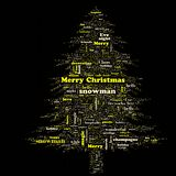 Merry Christmas word cloud in tree shape stock photos