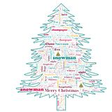 Merry Christmas word cloud in tree shape royalty free stock photos