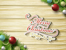 Merry Christmas word and decorations Royalty Free Stock Photos