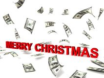 Merry christmas word and dollars Royalty Free Stock Photography
