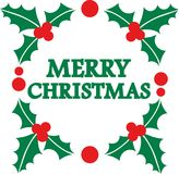 Merry christmas word in mistletoe wreath. Vector Royalty Free Stock Photos