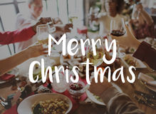 Merry Christmas word on people celebrating Royalty Free Stock Photos