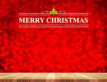 Merry Christmas word in perspective room with red sparkling boke Royalty Free Stock Photography
