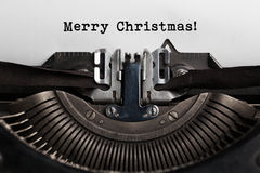 Merry Christmas word written by old typewriter Stock Photos