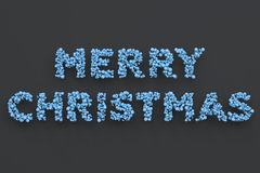 Merry Christmas words from blue balls on black background. Christmas sign. 3D rendering illustration Royalty Free Stock Photography