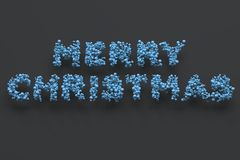 Merry Christmas words from blue balls on black background. Christmas sign. 3D rendering illustration Royalty Free Stock Photo