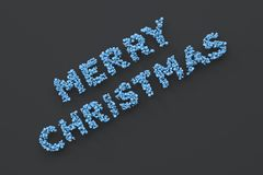 Merry Christmas words from blue balls on black background. Christmas sign. 3D rendering illustration Stock Images