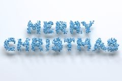 Merry Christmas words from blue balls on white background. Christmas sign. 3D rendering illustration Royalty Free Stock Photo