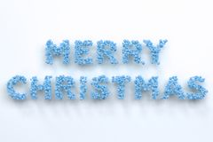 Merry Christmas words from blue balls on white background. Christmas sign. 3D rendering illustration Royalty Free Stock Photos