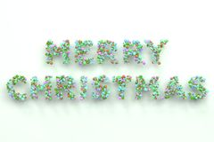 Merry Christmas words from colorful balls on white background. Christmas sign. 3D rendering illustration Royalty Free Stock Image