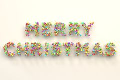 Merry Christmas words from colorful balls on white background. Christmas sign. 3D rendering illustration Royalty Free Stock Images