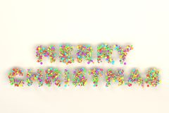 Merry Christmas words from colorful balls on white background. Christmas sign. 3D rendering illustration Stock Photos