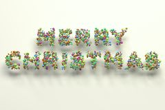 Merry Christmas words from colorful balls on white background. Christmas sign. 3D rendering illustration Royalty Free Stock Photography