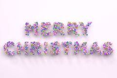 Merry Christmas words from colorful balls on white background. Christmas sign. 3D rendering illustration Stock Photography