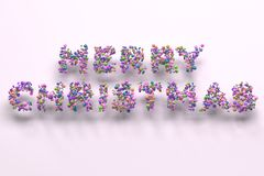 Merry Christmas words from colorful balls on white background. Christmas sign. 3D rendering illustration Royalty Free Stock Photo