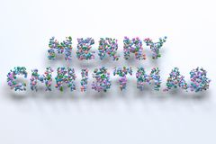 Merry Christmas words from colorful balls on white background. Christmas sign. 3D rendering illustration Royalty Free Stock Photos