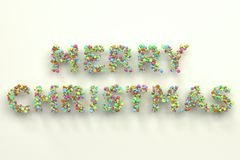 Merry Christmas words from colorful balls on white background. Christmas sign. 3D rendering illustration Stock Image