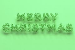 Merry Christmas words from green balls on green background. Christmas sign. 3D rendering illustration Royalty Free Stock Image