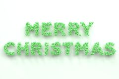 Merry Christmas words from green balls on white background. Christmas sign. 3D rendering illustration Stock Photo