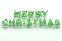 Merry Christmas words from green balls on white background. Christmas sign. 3D rendering illustration Stock Image
