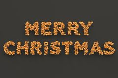 Merry Christmas words from orange balls on black background. Christmas sign. 3D rendering illustration Stock Photo