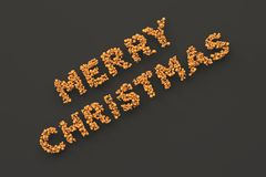 Merry Christmas words from orange balls on black background. Christmas sign. 3D rendering illustration Royalty Free Stock Images