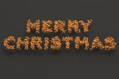 Merry Christmas words from orange balls on black background. Christmas sign. 3D rendering illustration Royalty Free Stock Photos