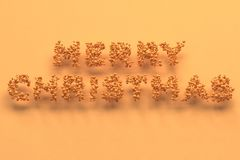 Merry Christmas words from orange balls on orange background. Christmas sign. 3D rendering illustration Royalty Free Stock Images