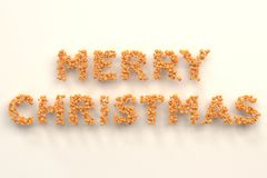 Merry Christmas words from orange balls on white background. Christmas sign. 3D rendering illustration Stock Photo