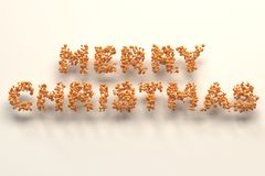 Merry Christmas words from orange balls on white background. Christmas sign. 3D rendering illustration Royalty Free Stock Photos
