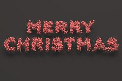 Merry Christmas words from red balls on black background. Christmas sign. 3D rendering illustration Stock Images