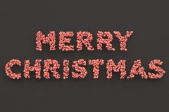 Merry Christmas words from red balls on black background. Christmas sign. 3D rendering illustration Stock Image