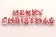 Merry Christmas words from red balls on white background. Christmas sign. 3D rendering illustration Stock Photography
