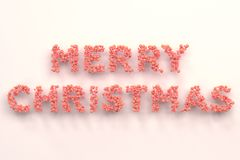 Merry Christmas words from red balls on white background. Christmas sign. 3D rendering illustration royalty free illustration