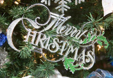 Merry Christmas Words Tree Ornament Royalty Free Stock Photo