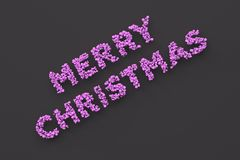 Merry Christmas words from violet balls on black background. Christmas sign. 3D rendering illustration Royalty Free Stock Photo