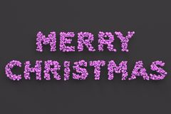 Merry Christmas words from violet balls on black background. Christmas sign. 3D rendering illustration Stock Photo