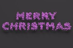 Merry Christmas words from violet balls on black background. Christmas sign. 3D rendering illustration Stock Photography