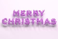 Merry Christmas words from violet balls on white background. Christmas sign. 3D rendering illustration Royalty Free Stock Photography