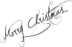 Merry Christmas. Words merry Christmas written on white background in curvy handwriting royalty free illustration