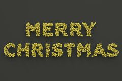Merry Christmas words from yellow balls on black background. Christmas sign. 3D rendering illustration Royalty Free Stock Photos