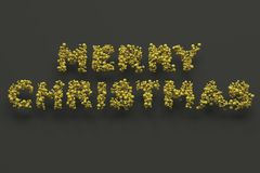 Merry Christmas words from yellow balls on black background. Christmas sign. 3D rendering illustration Stock Image