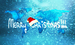 Merry Christmas World. An unfolded map of the world with an inspiring merry christmas message Royalty Free Stock Images