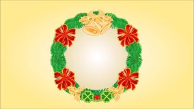 Merry Christmas Wreath  with bells and ribbons video. Animation of illustration Merry Christmas Wreath  with bells and ribbons video stock footage