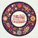 Merry Christmas wreath with Christmas toys. Royalty Free Stock Images